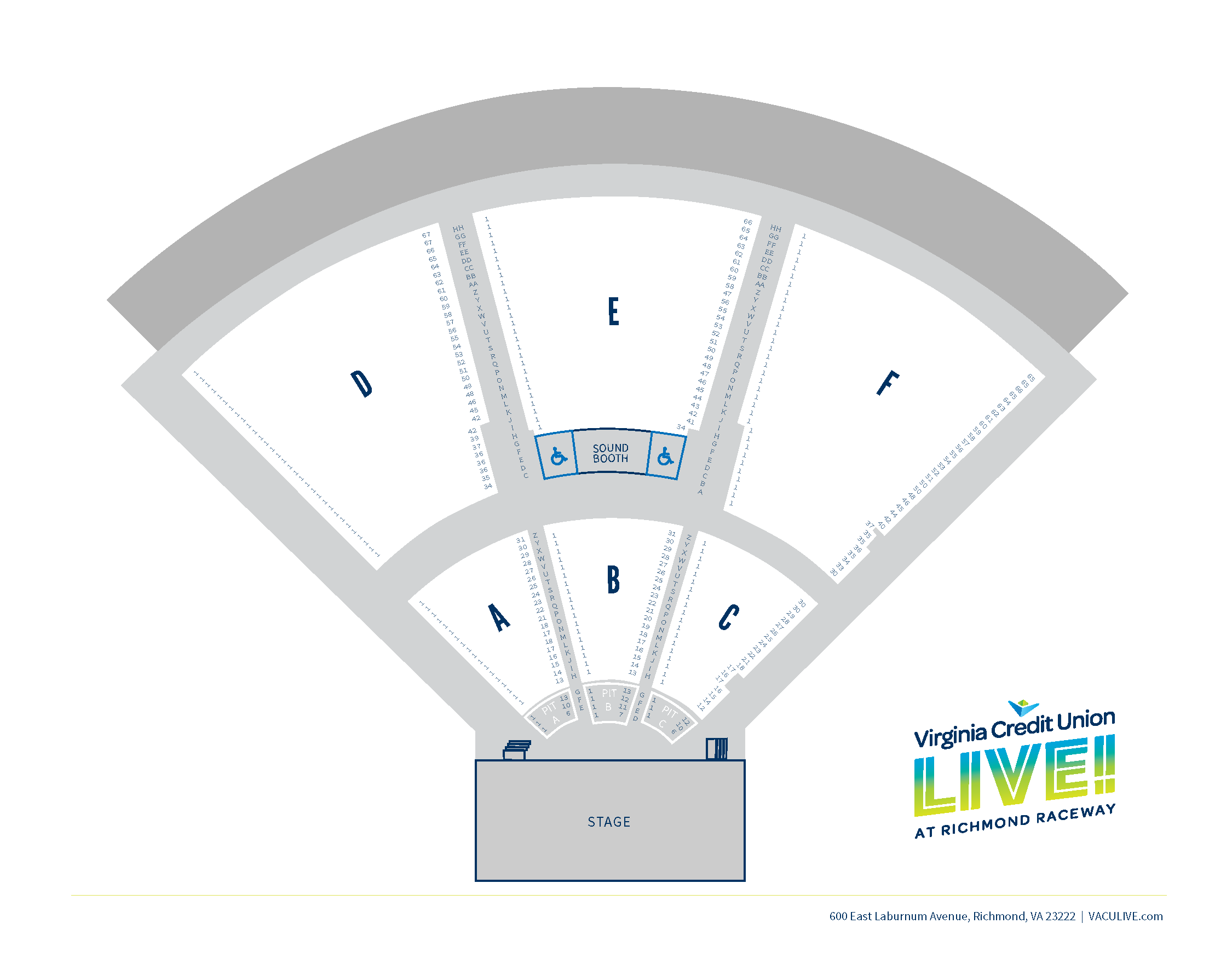 VACU LIVE VENUE MAPS_2018_Seating with PIT ROWS.png
